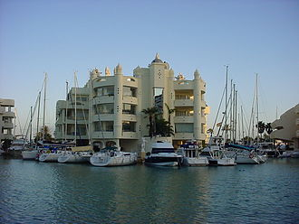 Benalmádena - One of the 'floating houses' in Puerto Deportivo in Benalmádena