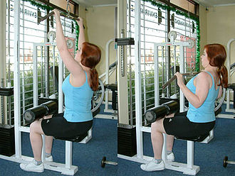 Pulldown exercise - Cable pulldown exercise to the front with a medium-width overhand (pronated) grip