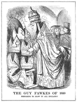 Universalis Ecclesiae - The restoration of the Catholic hierarchy in 1850 provoked a strong reaction.  This sketch is from an issue of Punch, printed in November that year.