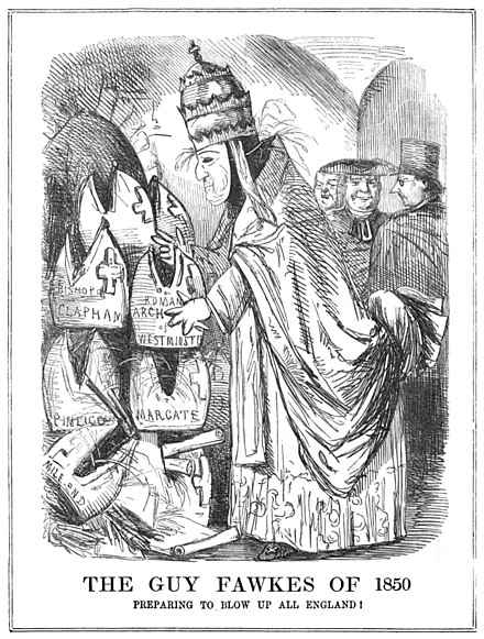 The restoration of the Catholic hierarchy in 1850 provoked a strong reaction. This sketch is from an issue of Punch, printed in November that year. Punch guy fawkes pope 1850.jpg