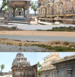 Pushpagiri Temple Complex - In the order from top left to bottom left, Vaidyanatheswara Swamy temple, Reliefs on the temple walls of Chennakesava Swamy, A panoramic view of Pushpagiri overlooking the river Penna, Indranatheswara Swamy temple, Trikuteswara Swamy temple