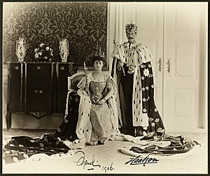 Coronations in Norway - King Haakon VII and Queen Maud of Norway in 1906.  Theirs was the last Norwegian coronation, to date.
