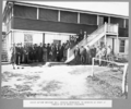Queensland State Archives 3660 Group outside welfare hall Rocklea workshops on occasion of the start of fabrication of bridge steelwork Brisbane 6 May 1936.png