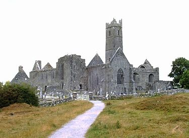 Quin Abbey, a Franciscan Friary built in the 15th century and suppressed in 1541 Quin abbey drab.jpg