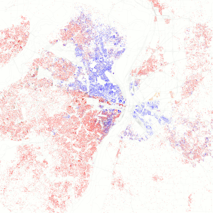 Map of racial distribution in St. Louis, 2010 U.S. Census. Each dot is 25 people: White, Black, Asian, Hispanic or Other (yellow) Race and ethnicity 2010 St. Louis.png