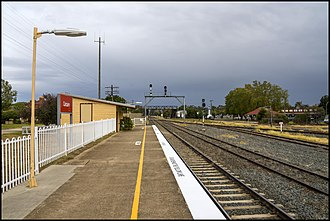 Culcairn railway station - Looking south towards Melbourne, 2018