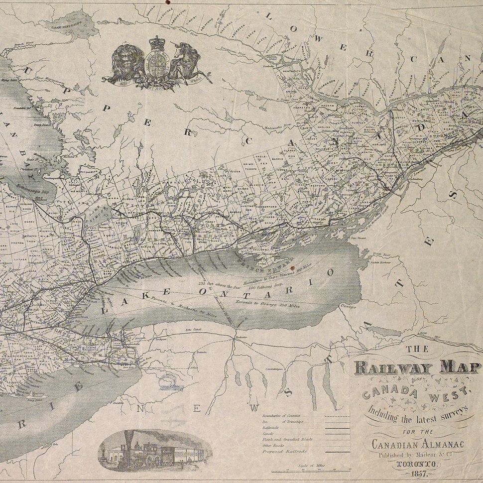 Railway map of Canada West