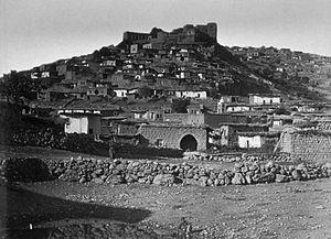 Battle of Rashaya - The village of Rashaya with its citadel, where the battle was fought, late 19th century