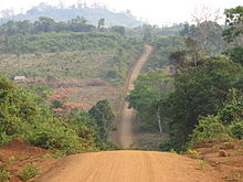An unpaved red dirt road passing through a forest in a mountainous landscape, with a house standing apart from the road to the left