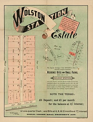 Wacol, Queensland - Real estate map of Wolston Station Estate, circa 1900