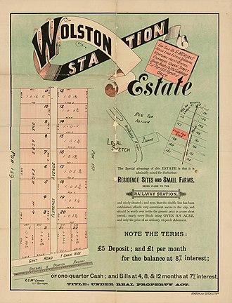 Wacol, Queensland - Real estate map of Wolston Station Estate, circa 1900