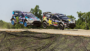 Global Rallycross - Ken Block (left) battling Brian Deegan in the 2015 GRC event at Marine Corps Air Station New River