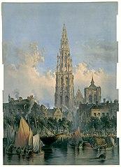 Redezicht met de kathedraal van Antwerpen op de achtergrond