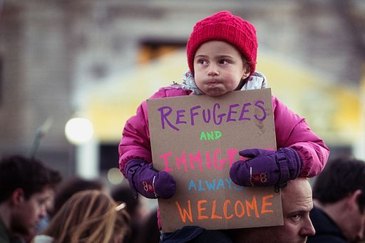 "Refugees and Immigrants Always Welcome, Thursday evening rally against Trump's ""Muslim Ban"" policies sponsored by Freedom Muslim American Women's Policy (32422207201)"