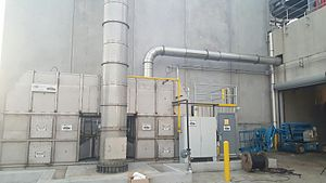 Duct (flow) - Ducts for air pollution control in a 17000 standard cubic feet per minute regenerative thermal oxidizer (RTO).