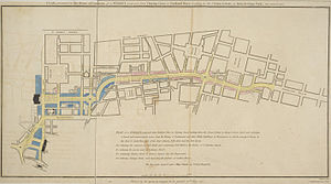 "Regent Street - Regent Street proposal, published 1813, titled ""PLAN, presented to the House of Commons, of a STREET proposed from CHARING CROSS to PORTLAND PLACE, leading to the Crown Estate in Marylebone Park"""