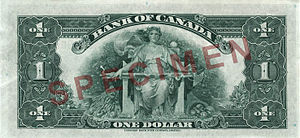1935 Series (banknotes) - Image: Reverse of $1 banknote, Canada 1935 Series, English version