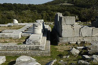 Rhamnous - View of the 5th BC (L) and Archaic (R) temples looking east.