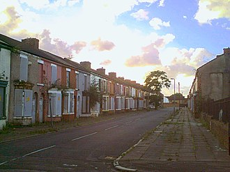 Welsh Streets, Liverpool - Rhiwlas Street in an empty and derelict condition, August 2012