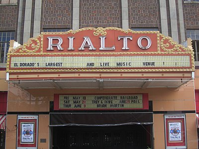 Rialto Theater hosts live music events in El Dorado. Rialto Theater, El Dorado, AR IMG 2629.JPG