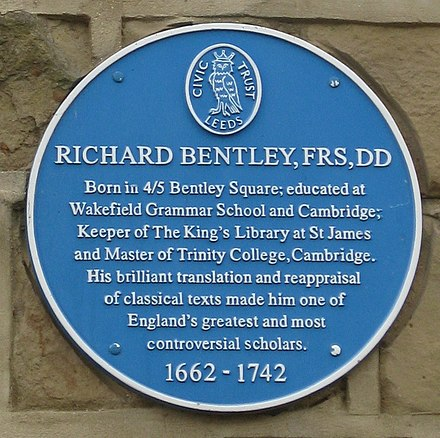 Plaque on Bentley Square, Oulton Richard Bentley blue plaque Bentley Square Oulton.jpg