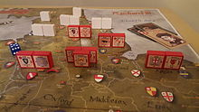A set up of Richard III, a block wargame from Columbia Games.