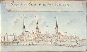 Riga in 1650. The inscription reads: Prospect der Stadt Riga ums Jahr 1650 (View at the City of Riga in the year 1650). Drawing by Johann Christoph Brotze
