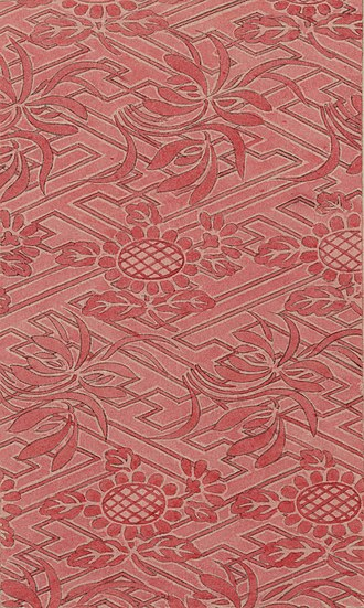 Rinzu - Woodblock print (between ca. 1100 and 1400) illustrating a stylized floral design used in rinzu fabric