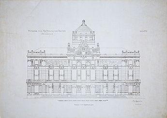 Fredrik Lilljekvists facadetegning og afdelingstegning fra 1904.