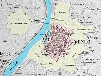 Venlo - Map circa 1850