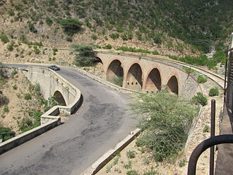 Transport in Eritrea - The Railway line Massawa-Asmara between Ghinda and Embatkalla.