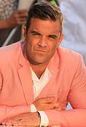 Robbie Williams sul set del video di