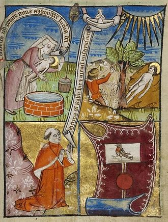 Robert of Bury - 15th century illumination depicting the martyrdom of St. Robert of Bury. Top left, a woman seems to be placing Robert's body in a well; top right, it is lying next to a tree with an archer standing by. The precise meaning of these scenes is unknown. At bottom, a monk prays to Robert's soul
