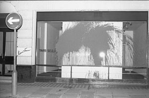 Robert Fraser (art dealer) - A photograph of paint attacks on Robert Fraser Gallery on London's Cork St galleries by the Grey Organisation, 21 May 1985