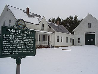 "Robert Frost - The Robert Frost Farm in Derry, New Hampshire, where he wrote many of his poems, including ""Tree at My Window"" and ""Mending Wall."""