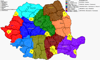 Administrative divisions of Romania - Image: Romania Administrative Divisions Proposal 2012