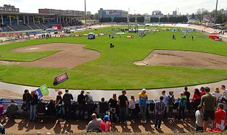 2016 Paris–Roubaix - The Roubaix Velodrome, where the Paris–Roubaix finished, on the day of the race. The victory podium can be seen in the centre.