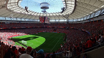 The BC Place in Vancouver hosting a 2015 Women's World Cup match Round of 16 Canada vs Switzerland (18852958960).jpg