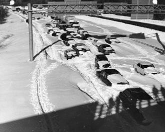 Northeastern United States blizzard of 1978 - Cars and trucks stuck in snow on Route 128 near Needham, Massachusetts