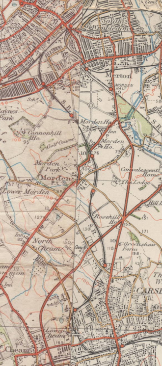 Wimbledon and Sutton Railway - Image: Route of Wimbledon & Sutton Railway