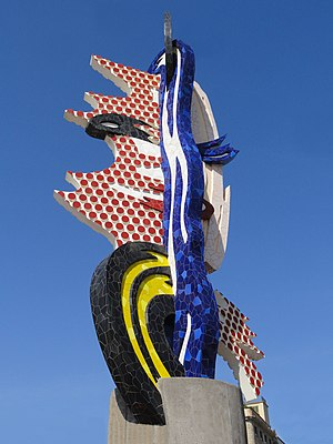 Roy Lichtenstein - Cap de Barcelona, sculpture, mixed media, Barcelona