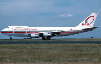 Royal Air Maroc - A Royal Air Maroc Boeing 747-200B at Charles de Gaulle Airport in 1996.
