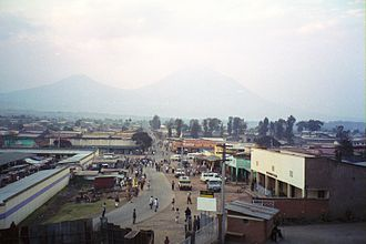 Rwandan Civil War - The town of Ruhengeri, with the Virunga Mountains in the background
