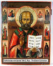 St. Nicholas, seen here flanked by six select saints, is one of the popular subjects in Russian iconography.