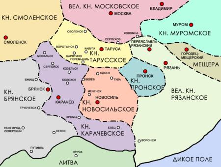 Меченск на карте Новосильского княжества в XIII — XIV веках