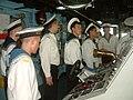 Russian sailors on bridge of USS Fort McHenry (LSD-43) 2003-07-05.jpg