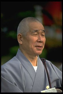 A priest from the Japanese Tendai school of Buddhism looking right