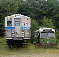 SEPTA M-3 and trackless trolley at Seashore Trolley Museum, August 2006.jpg