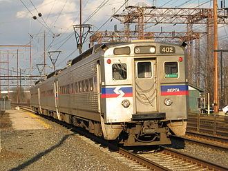 Bensalem Township, Pennsylvania - SEPTA Regional Rail train along the Trenton Line entering the Cornwells Heights station