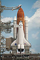 SS Endeavour STS134 on launch pad (facing shuttle).jpg